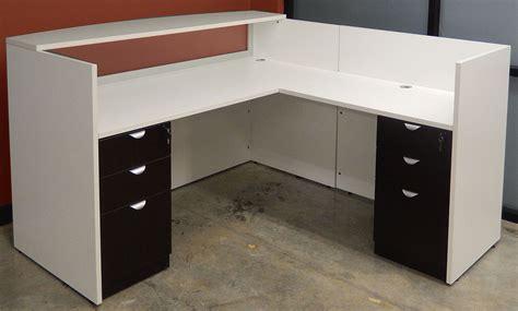 white receptionist desk white woodgrain u shaped reception desk