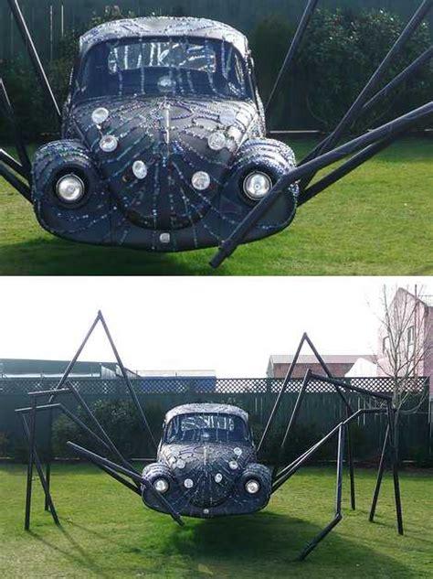 mild musings ii spider bug  spooky vw beetle car art sculptures