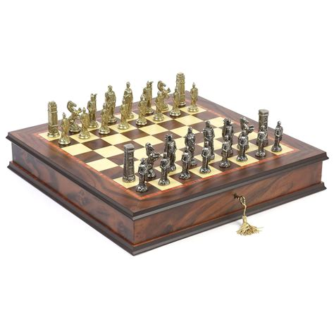 metal chess set hannibal roman metal chess set chess sets at hayneedle