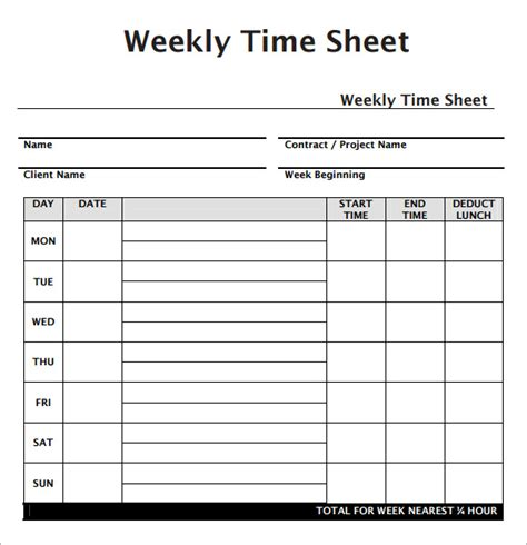 weekly time sheet weekly timesheet template weekly