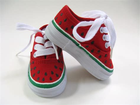 infants sneakers watermelon shoes painted toddler or baby canvas