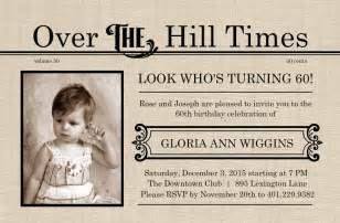 over the hill times 60th birthday invitation template
