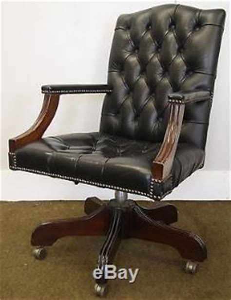 antique style leather office chairs antique style gainsborough chesterfield black leather