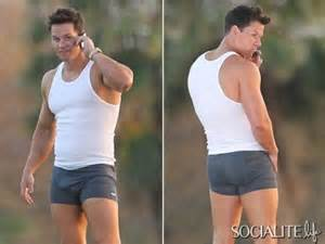 mark wahlberg shows off his package in some tight undies photos