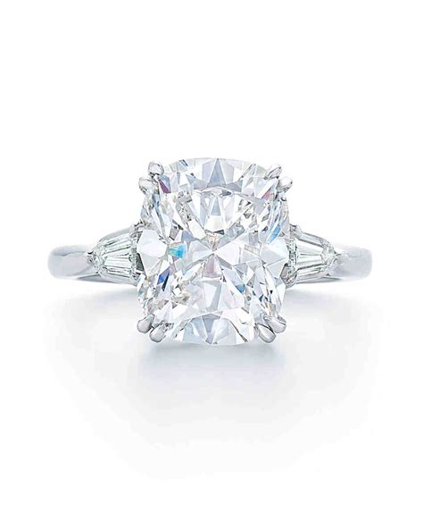 cusion cut diamonds cushion cut diamond engagement rings martha stewart weddings