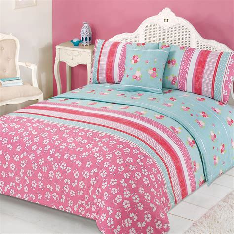 Pink Green Bedding Sets Floral Quilt Cover Bed In A Bag Pillowcases Runner Bedding Set Verity Pink Green Ebay