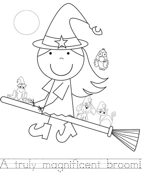 coloring pages witch on a broom room on the broom color pages with handwriting practice