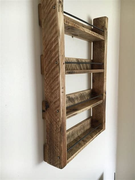 diy wooden wall spice rack spice rack wood spice rack handmade 4 shelf reclaimed