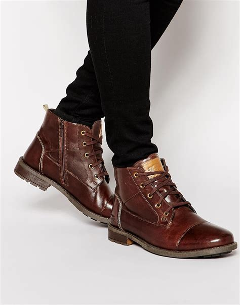 original boots original penguin lace up zip boots in brown for lyst