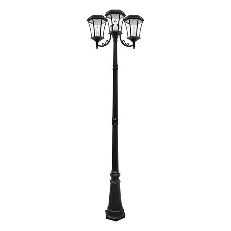 3 l post light gama sonic victorian 3 head outdoor solar black l post