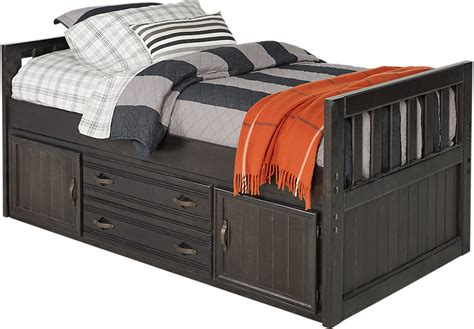 captain s bed creekside charcoal 3 pc twin captain s bed beds colors