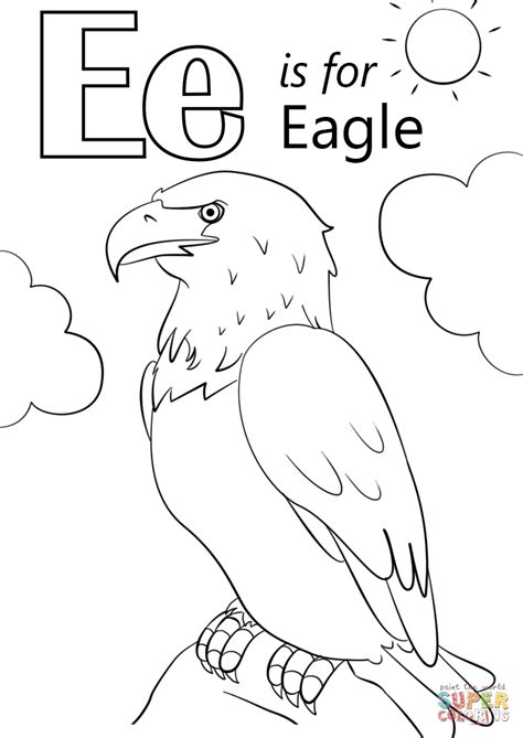 coloring pages with letter e letter e is for eagle coloring page free printable