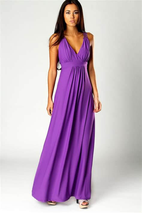 Purple Maxi Dress boohoo jess crossover front lace back maxi dress in purple