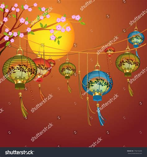 new year festive vector card with lanterns festive card with traditional lanterns asian new