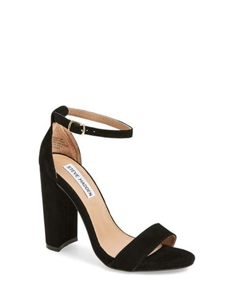 steve madden carrson suede chunky heel sandals in black lyst