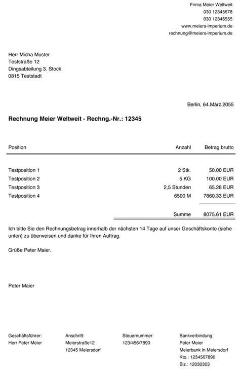 Rechnung Schreiben Privatperson Finanzamt rechnungen f 252 r einen shop schreiben