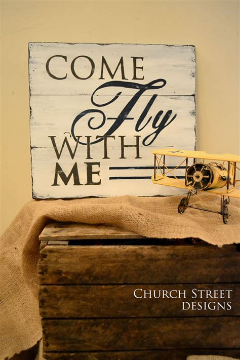 Come With Me Travel The Look by Come Fly With Me Painted Airplane Sign Nursery