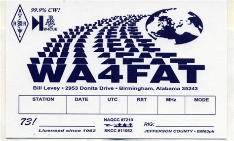Amateur Radio Wa4fat Qsl Card Template Photoshop