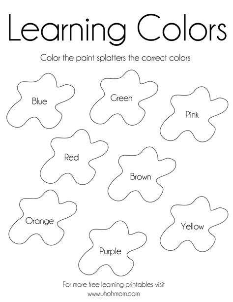 Colors Coloring Pages learning colors free printable uh oh