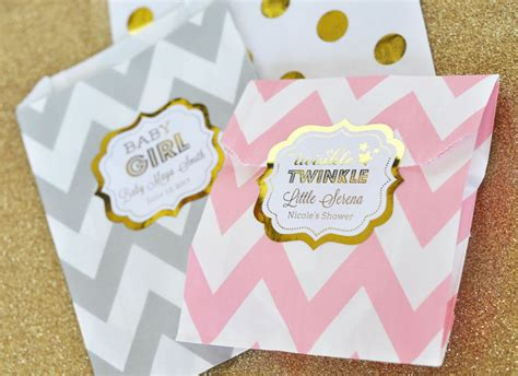 baby shower goody bags personalized metallic foil chevron dots baby shower
