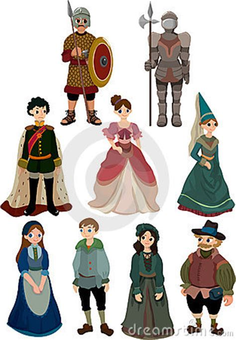 cartoon medieval people icon royalty  stock