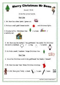 merry xmas mr bean worksheet free esl printable