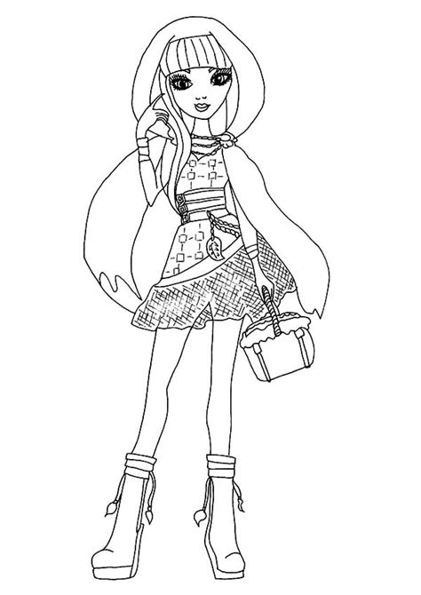 ever after high coloring pages cerise cerise hood posing in ever after high coloring pages
