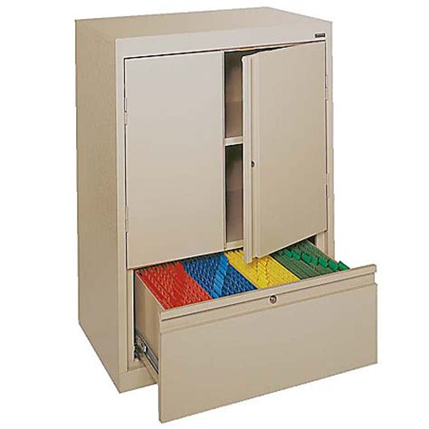sandusky counter height steel storage cabinet with drawer