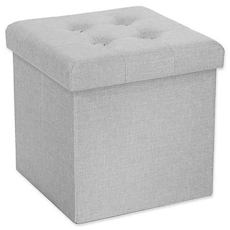 seville classics foldable storage bench ottoman charcoal gray buy seville classics foldable storage cube ottoman in grey
