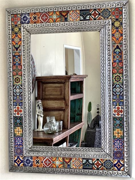 Mexican Tin & Tile Mirror: large   furniture   lighting