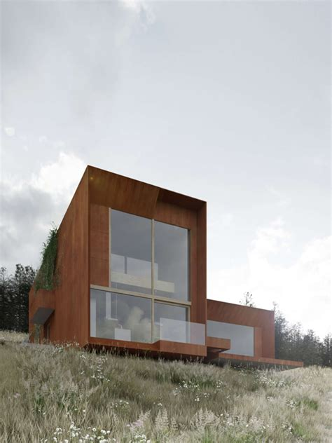 house on the hill modern polish architecture in the countryside