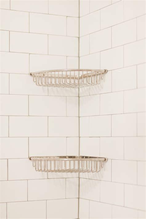 White Corner Shower Shelf by Shower Corner Shelf Dezinde