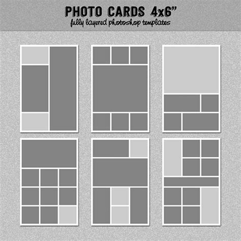 6 Photo Cards Collage Templates 4x6 Quot Set 2 Instagram Collage Digitalbazaar Graphics On 4 Photo Collage Template