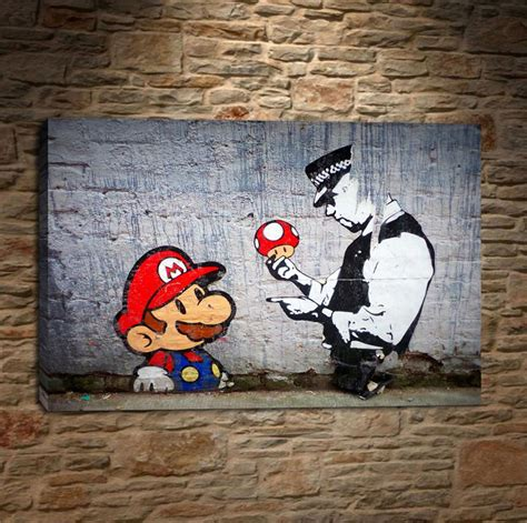 graffiti wallpaper b and m online cheap banksy graffiti art mario and the cop home