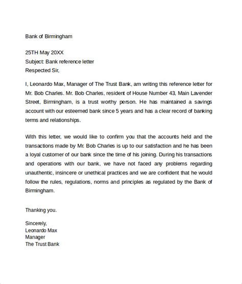 Bank Letter Of Reference Template Bank Reference Letter 5 Free Sles Format Exles