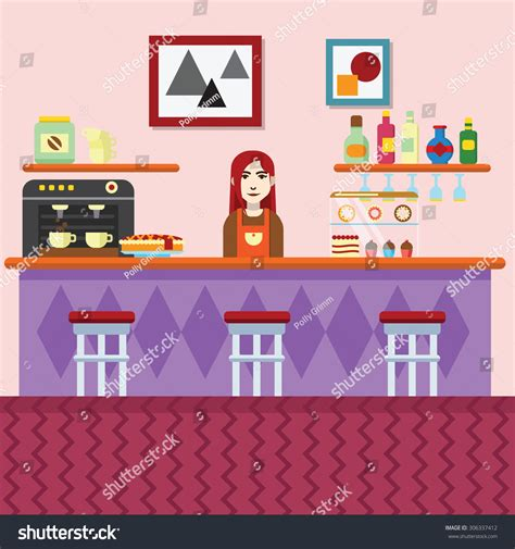 cafe interior design vector bakery coffee shop cafe interior vector stock vector