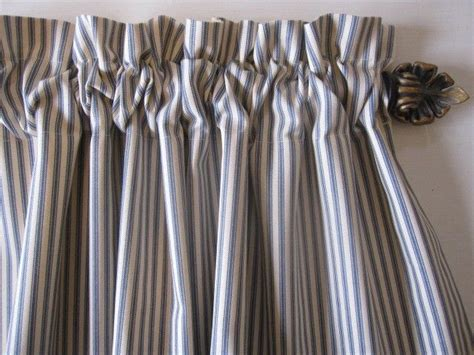 blue ticking stripe curtains curtain valance window curtain blue ticking stripe