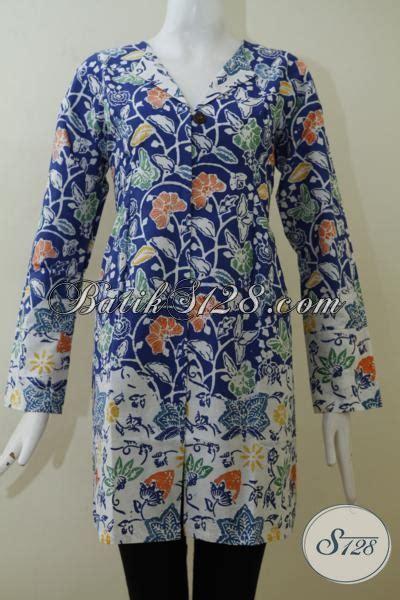 Rok Panjang Motif Batik Biru blus batik lengan panjang motif keren berpadu warna dasar