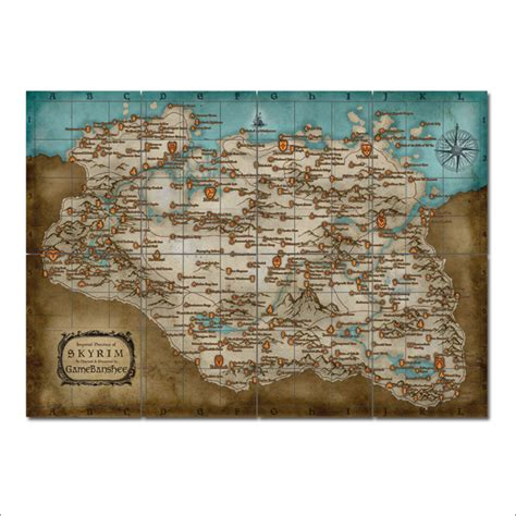 Blockers Poster The Elder Scrolls Skyrim Map Block Wall Poster