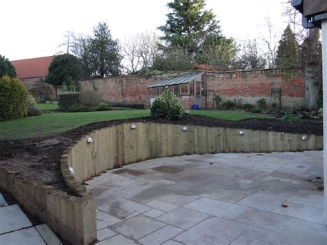 Railway Sleepers New by Wall From New Railway Sleepers