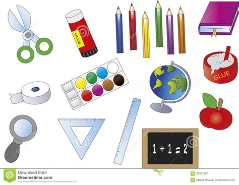 scuola clipart accessori della scuola illustrazione di stock