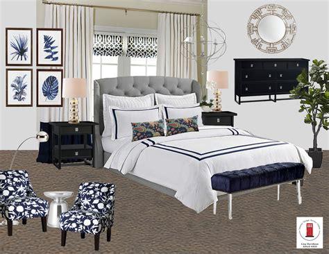 navy white  gray transitional master bedroom room  interior design service