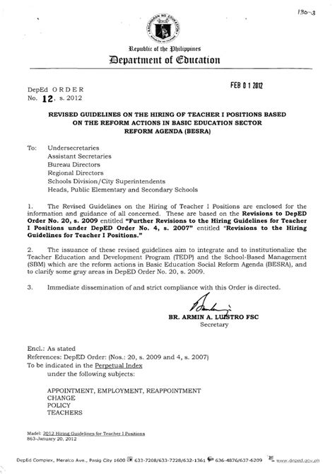 application letter deped revised guidelines on the hiring of i