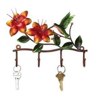 hummingbird and flowers decorative key rack metal hook