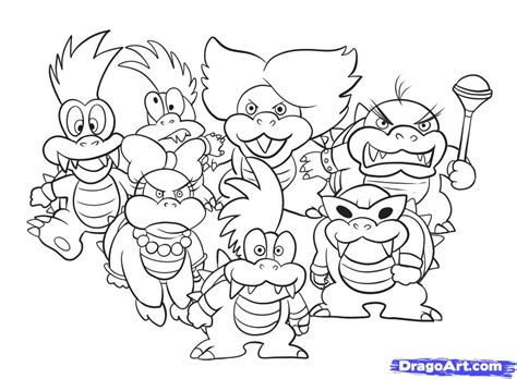 mario koopalings coloring pages how to draw koopalings step by step video game