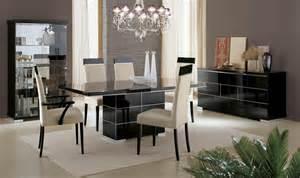 Black Gloss Dining Room Furniture Savina Black Dining Furniture High Gloss Em Italia