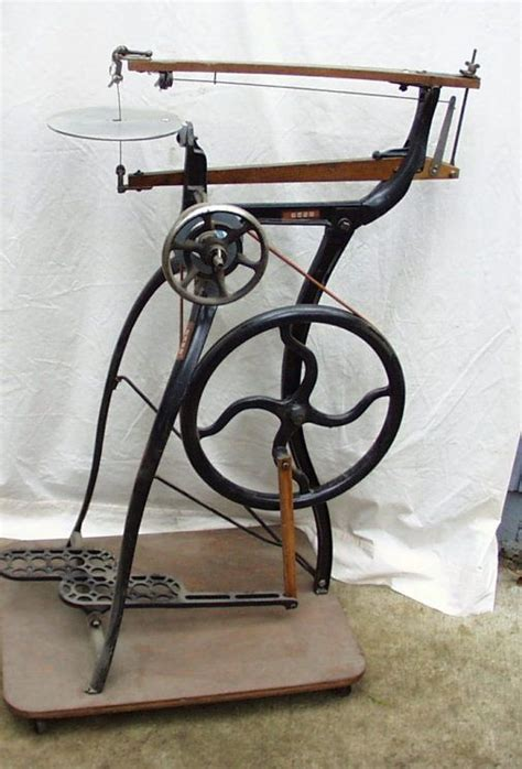 beautiful foot powered scroll  antique woodworking