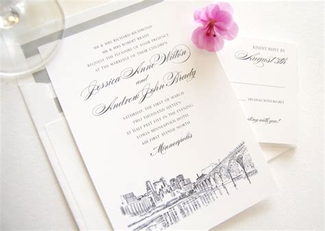 Wedding Invitations Minneapolis by Minneapolis Skyline Wedding Invitations