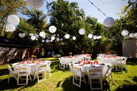 backyard party setup planning a backyard wedding on a budget wedding planning