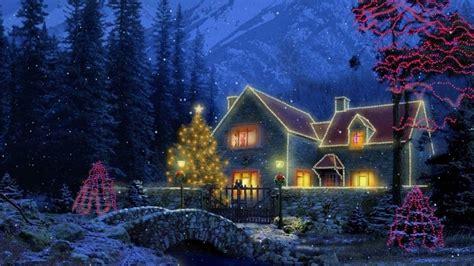 christmas mountain village cottage